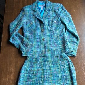 Turquoise Tweed 2-pc Skirt Suit Size 6